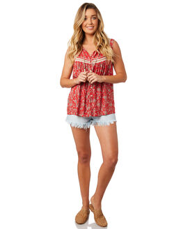 RED FLORAL WOMENS CLOTHING O'NEILL FASHION TOPS - 4821201RFL