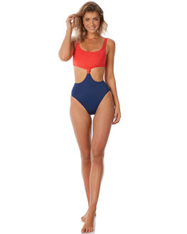 RED NAVY WOMENS SWIMWEAR SOLID AND STRIPED ONE PIECES - WS-1069-1434RDNVY