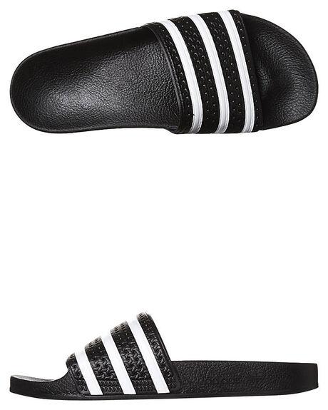 BLACK WHITE BLACK MENS FOOTWEAR ADIDAS ORIGINALS THONGS - 280647BLK