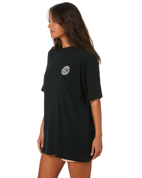 BLACK WOMENS CLOTHING STUSSY TEES - ST102001BLK