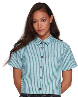 GREEN STRIPE WOMENS CLOTHING RVCA FASHION TOPS - RV-R407181-GES