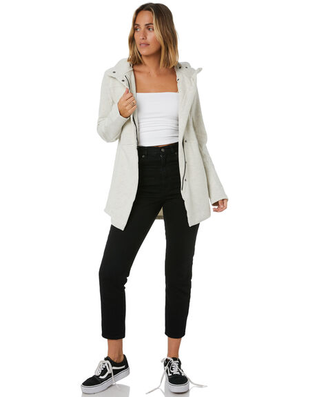 OATMEAL HEATHER WOMENS CLOTHING HURLEY JACKETS - CI3407141