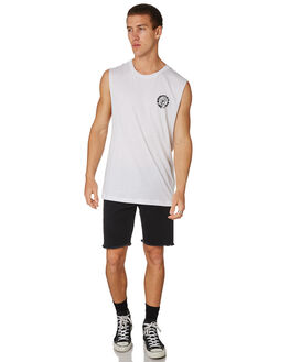 WHITE MENS CLOTHING SANTA CRUZ SINGLETS - SC-MTC7586WHT