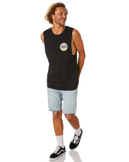 BLACK MENS CLOTHING THE LOBSTER SHANTY SINGLETS - LBSSOLAREZBLK