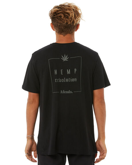 BLACK MENS CLOTHING AFENDS TEES - M181001BLK