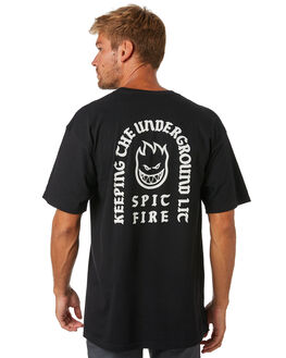 BLACK WHITE MENS CLOTHING SPITFIRE TEES - 51010602BBLKWH