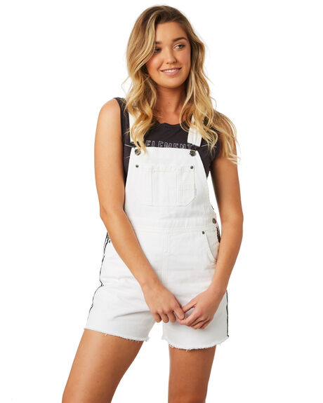 BRIGHT WHITE WOMENS CLOTHING ELEMENT PLAYSUITS + OVERALLS - 283871WHT