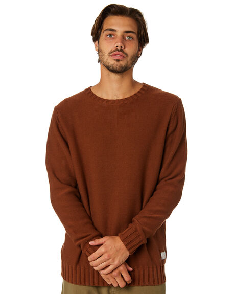 VINTAGE BROWN MENS CLOTHING RHYTHM KNITS + CARDIGANS - JAN19M-KN02-BRO