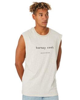 WHITE STRIPE MENS CLOTHING BARNEY COOLS SINGLETS - 132-CC3WHTST
