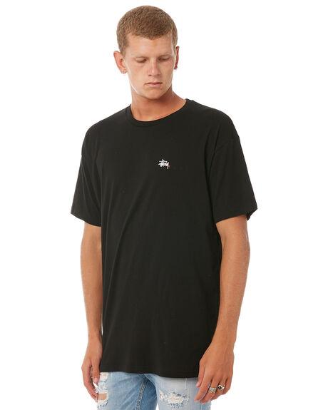 BLACK MENS CLOTHING STUSSY TEES - ST071002BLK