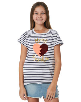 NAVY WHITE STRIPE KIDS GIRLS EVES SISTER TEES - 9920003NVWT