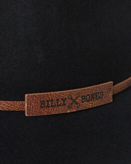 BLACK MENS ACCESSORIES BILLY BONES CLUB HEADWEAR - BBCFED010BLK