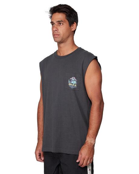 PIRATE BLACK MENS CLOTHING RVCA SINGLETS - RV-R107004-PTK