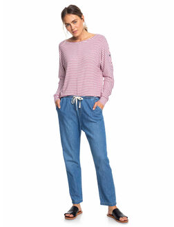 MEDIUM BLUE WOMENS CLOTHING ROXY JEANS - ERJDP03218-BMTW