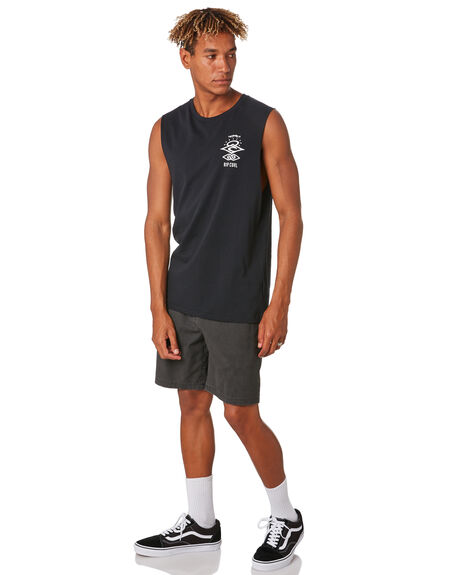 BLACK MENS CLOTHING RIP CURL SINGLETS - CTEVS20090