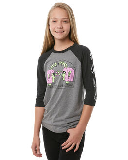 CHARCOAL HEATHER KIDS GIRLS VOLCOM TEES - B35118Y0CHH