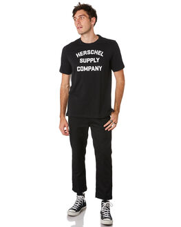 BLACK WHITE MENS CLOTHING HERSCHEL SUPPLY CO TEES - 50027-00385BLKWH