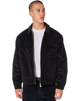 BLACK MENS CLOTHING POLAR SKATE CO. JACKETS - PSC-CORDJKBLK