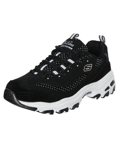 BLACK WHITE WOMENS FOOTWEAR SKECHERS SNEAKERS - 13142BKW