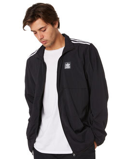 BLACK WHITE MENS CLOTHING ADIDAS JACKETS - DU8324WLKWH