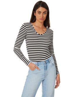 BLACK WHITE WOMENS CLOTHING AFENDS FASHION TOPS - W182103BLKWH