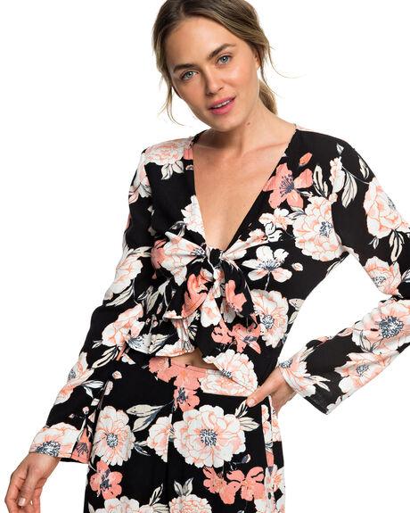 ANTHRACITE FLOWERS WOMENS CLOTHING ROXY FASHION TOPS - ERJWT03311-KVJ6