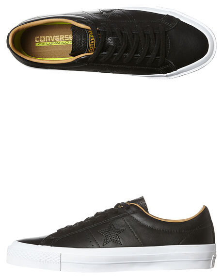 142e85685eb Converse Cons One Star Lunarlon Leather Shoe - Black Sand Dune Whit ...