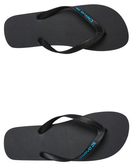 BLACK CYAN MENS FOOTWEAR CARVE THONGS - CVS1509BLKC
