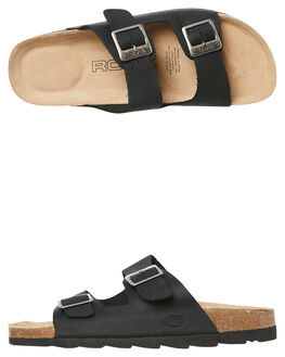 BLACK WOMENS FOOTWEAR ROC BOOTS AUSTRALIA SLIDES - BERMUDABLK