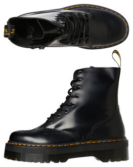 BLACK POLISHED WOMENS FOOTWEAR DR. MARTENS BOOTS - SS15265001BLKW