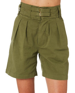 ARMY GREEN WOMENS CLOTHING THRILLS SHORTS - WTA9-302FARMY