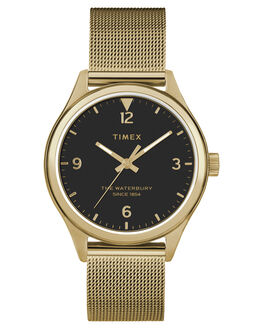 GOLD BLACK DIAL WOMENS ACCESSORIES TIMEX WATCHES - TW2T36400GLDBK