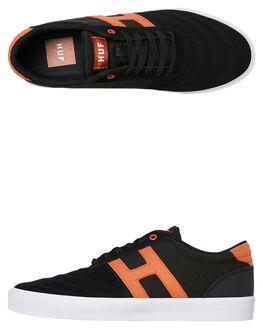 BLACK ORANGE MENS FOOTWEAR HUF SNEAKERS - VC00094-BLACK
