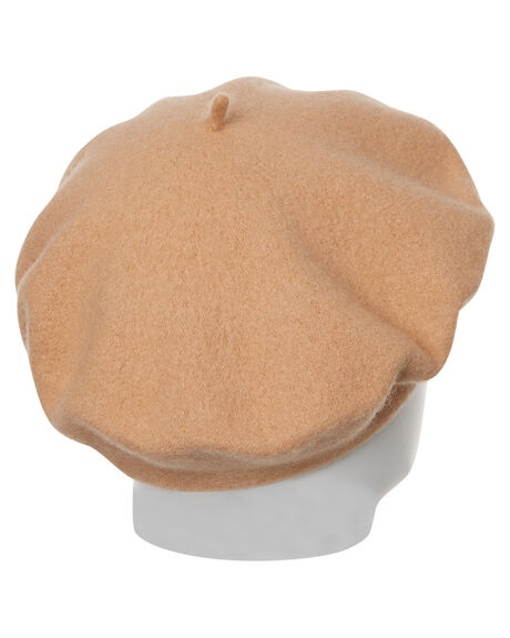 CARAMEL WOMENS ACCESSORIES LACK OF COLOR HEADWEAR - BERETCAMEL1CAM