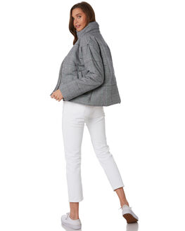 GREY PLAID WOMENS CLOTHING COOLS CLUB JACKETS - 507-CW2GRY