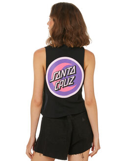 BLACK WOMENS CLOTHING SANTA CRUZ SINGLETS - SC-WTD8712BLK