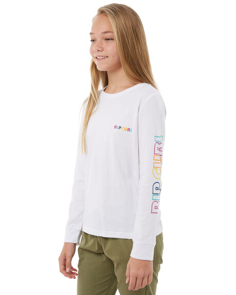 WHITE KIDS GIRLS RIP CURL TEES - JTEDB11000