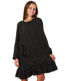 BLACK WHITE SPOT KIDS GIRLS EVES SISTER DRESSES - 9910154PRNT