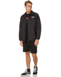 BLACK MENS CLOTHING HUF JACKETS - JK75301BLK