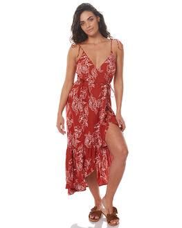 RUST FLORAL WOMENS CLOTHING RUE STIIC DRESSES - SRC4RFLR