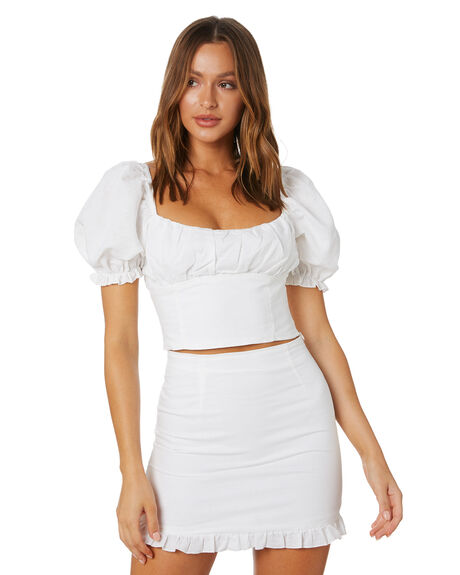 WHITE WOMENS CLOTHING CHARLIE HOLIDAY FASHION TOPS - GSW7009WHT