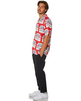 RED MENS CLOTHING HUF SHIRTS - BU00053-RED