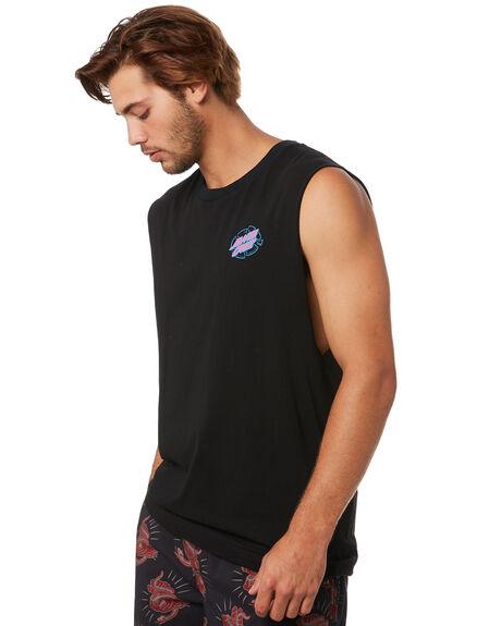 BLACK MENS CLOTHING SANTA CRUZ SINGLETS - SC-MTA0479BLK