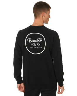BLACK WHITE MENS CLOTHING BRIXTON JUMPERS - 02450BKWHT