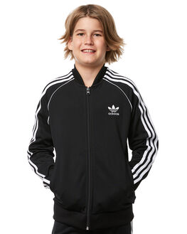 BLACK KIDS BOYS ADIDAS JUMPERS + JACKETS - CF8555BLK