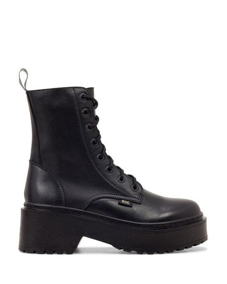 BLACK LEATHER WOMENS FOOTWEAR ROC BOOTS BOOTS - TOMBOYWL-BLKFG-35