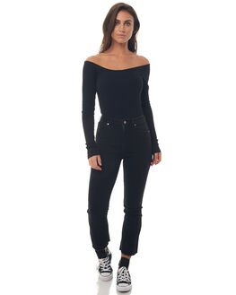 BLACK WOMENS CLOTHING AFENDS FASHION TOPS - W181103BLK