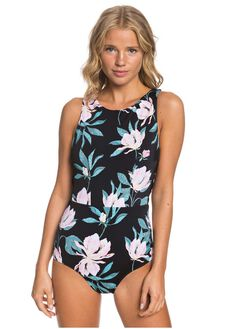 ANTHRACITE TROPICAL WOMENS SWIMWEAR ROXY ONE PIECES - ERJX103254-XKWM