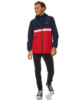 NAVY RED MENS CLOTHING STUSSY JACKETS - ST077505NVYR