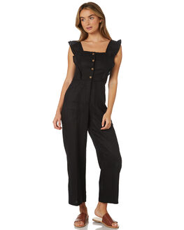 BLACK WOMENS CLOTHING LILYA PLAYSUITS + OVERALLS - LJS101-LAW19BLK